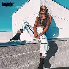 2019 <b>Auyiufar</b> White <b>Streetwear</b> Cargo Pants Wide Leg <b>Female</b> ...