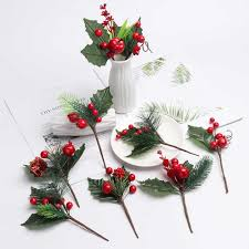 <b>1PC</b> Artificial Flower Red <b>Berry</b> Pearl Stamen <b>Berries</b> Branch for ...