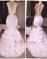 2019 <b>White Mermaid</b> Prom <b>Dresses</b> Lace Beading Crisscross Back ...