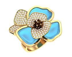 """Золотое <b>кольцо</b> """"Эйфория"""" с бриллиантами и <b>топазами London</b> ..."""