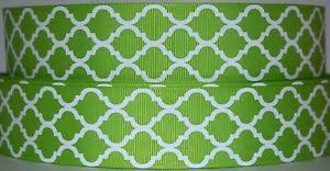"1.5"" <b>Grosgrain Ribbon</b> QUATREFOIL WHITE & <b>APPLE GREEN</b> ..."