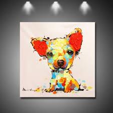 <b>Cute Little Dog</b> - Hand-Painted Modern Home decor wall art <b>oil</b> ...