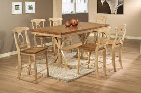 tall dining chairs counter: quails run counter height trestle table dining room set in almond wheat bar stools