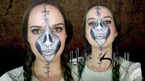 half stapled skull day of the dead makeup tutorial