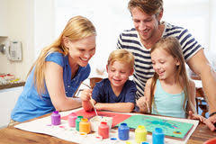 Parents Helping Children Homework Kitchen Stock Photos  Images     Dreamstime com Parents Painting Picture With Children At Home Stock Images