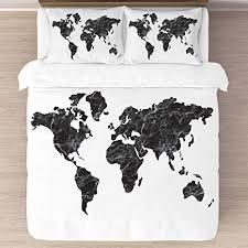 KB & Me Black and White Marble World Map Duvet ... - Amazon.com