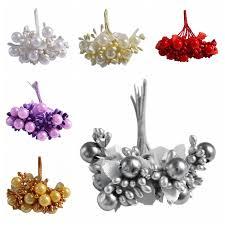 <b>10pcs 12mm</b> Artificial Pearl Stamens Flower Small Berries Cherry ...