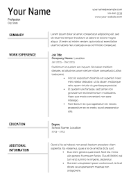 free resume templates resume templates word free