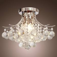 loco chrome finish crystal chandelier with 3 lights mini style flush mount ceiling light fixture for study roomoffice dining room bedroom chandelier lighting
