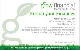 grow financial federal credit union linkedin join us 15th at 6 00pm at our lexington sc location for a seminar dinner provided space is limited so please rsvp by 10 by emailing