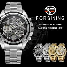 <b>FORSINING Men Watch</b> Stainless Steel Military Sport Wristwatch ...