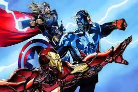 Captain <b>America Iron</b> Man Lightning Marvel Comics - CANVAS OR ...