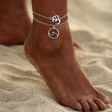 <b>Women Multi layer</b> Bohemian 3D Sea <b>Wave</b> Pendant Anklet Foot ...