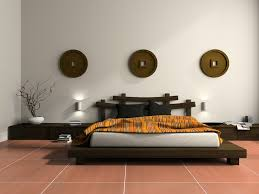 pictures simple bedroom: simple dark wood platform bed on red tile floor with white walls