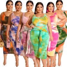 Womens Sleeveless Tie Dye <b>Tank</b> Cropped Top & Skirt Bodycon ...