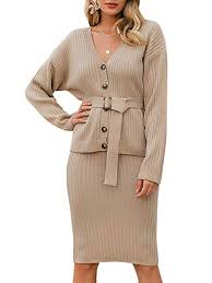 Miessial Women's <b>Knitted</b> V Neck <b>Bodycon</b> Midi Dress Elegant Two ...