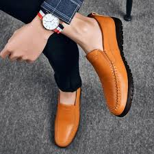 genuine leather men loafers slip on fashion dress shoes handmade luxurious flats mens classic banquet prom