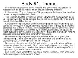 poetry analysis essay help and example from the highwayman   ppt  body  theme in order for any poem to affect readers and endure the