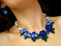<b>Blue</b> flowers bib <b>necklace pearl</b> beads (с изображениями ...