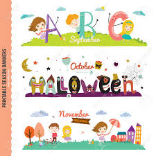 set of three monthly seasonally vector banners in a cute and set of three monthly seasonally vector banners in a cute and character style for posters