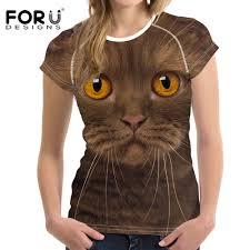 <b>FORUDESIGNS t shirt Women</b> Kawaii Cat Shirt Tops Tees Femme ...