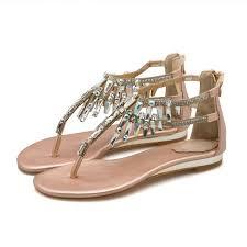 Bohemia Gold <b>Womens</b> Sandals 2018 Beading <b>Rhinestone Crystal</b> ...