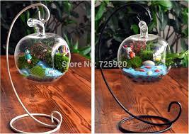 1SET Apple Shaped Flower Plant Grass Hanging Clear Glass Vase ...