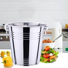 3L <b>5L Stainless</b> Steel Bar <b>Ice Bucket</b> Two Handles Champagne ...