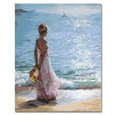 2019 <b>RIHE Girl Watching Sea</b> Abstract Lover Painting Diy Digital ...