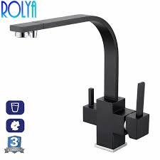 2019 <b>Rolya</b> Square Copper Chrome <b>Matte Black</b> Kitchen Faucet ...