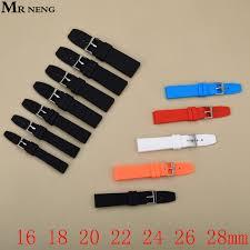 Black Men's Rubber Strap, 16MM 18MM <b>20MM 22MM</b> 24MM <b>26MM</b> ...