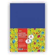 <b>№1 School Картон</b> цветной мелованный Отличник А4 8 листов ...