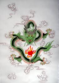 feng shui green dragon silk painting chinese feng shui dragon