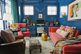 view in gallery cozy home office with bold use of colors and vintage pieces design summer thornton cheerful home office rug