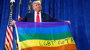 Donald Trump unfurled a <b>rainbow</b> flag with LGBT written on it at a ...