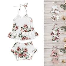 Shop US Infant <b>Baby Girl Clothes</b> Flower Sleeveless Halter Tops ...
