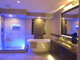 amazing bathroom blue led lights decors ideas in ceiling glass shower room and above beside bathtub amazing amazing bathroom lighting