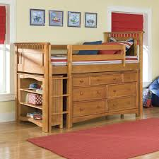 f astounding brown finish solid pine wood loft beds built in pull out drawers using round brown metal knobs handle equipped stairs and open storage astounding modern loft bed