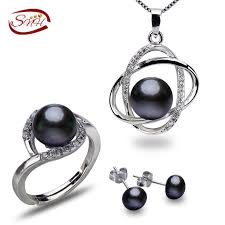 SNH 8-9mm button black color <b>AAA 925silver</b> natural <b>real</b> freshwater ...