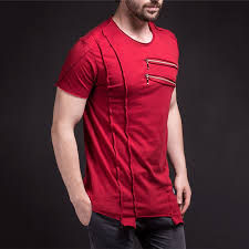 <b>E BAIHUI New</b> Short Sleeve <b>T Shirt</b> Men Fashion zipper decorate ...