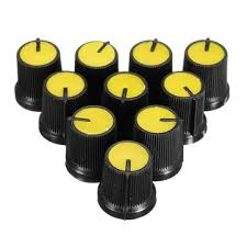 <b>50pcs yellow plastic for</b> rotary taper potentiometer hole 6mm knob ...