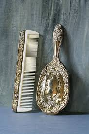 <b>Vintage</b> Hairbrush and Comb, Silver <b>Plated Brush</b> and Comb Set ...