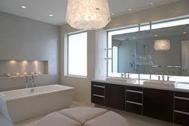 pendant modern bathroom lighting above round ottoman and freestanding bathtub also double sink bathroom vanity bathroom pendant lighting double vanity modern