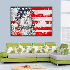 liberty bedroom wall mural: canvas art print retro flag of usa the statue of liberty of america new york statue