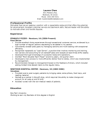 sample resume for experienced server sample customer service resume sample resume for experienced server experienced resume sample packet depaul the career sample restaurant food