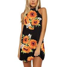 Womens <b>Summer Sexy</b> Flower Print Dresses Halter Mini Sleeveless ...