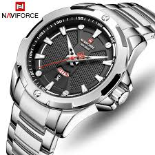 NAVIFORCE Top Brand Luxury Gold <b>Full Steel Watch</b> LED Analog ...
