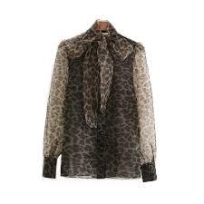 Transparent Vintage <b>Women Leopard Blouses</b> Organza Mesh ...