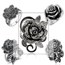<b>Huitan</b> Black Rose <b>Ring</b> with CZ Micro Pave Christmas New Year ...