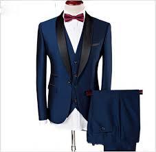 Custom Made <b>Groom Tuxedos Groomsmen Dark</b> Blue Slim Suits Fit ...
